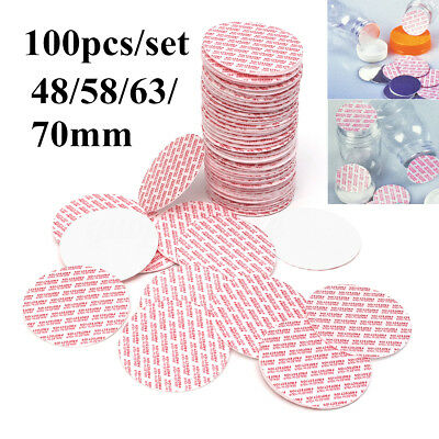 100pcs Press & Seal Cap Liners Jar Bottle Foam Safety Tamper Seals 48/58/63/70mm