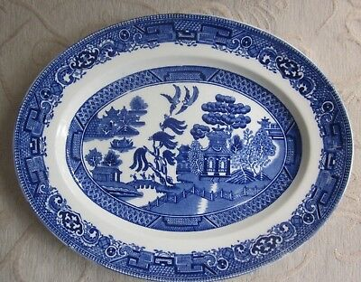 vintage ALFRED MEAKIN Old Willow 28.5cm oval SERVING PLATTER blue & white
