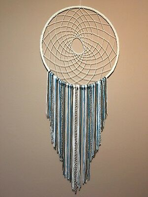 "24""Large brown white an turquoise dream catcher blue boho bedroom nursery decor"