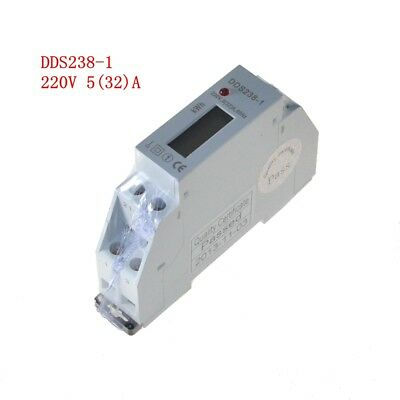 1pc 5(32)A 220V 60HZ Single Phase Din Rail KWH Hour Energy Meter