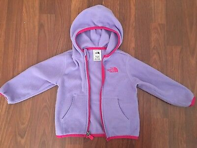 The North Face Full Zip Fleece Hoodie Toddler Sz 12-18 Months Lavender and Pink