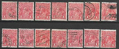 KGV    1d  RED  SINGLE WMK   COMPARTMENT LINES   14 STAMPS
