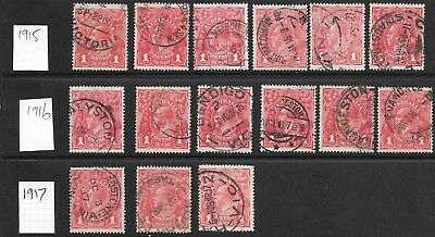 KGV    1d  RED  SINGLE WMK   WITH DATE STAMPS FROM 1915,16 & 17   15 STAMPS
