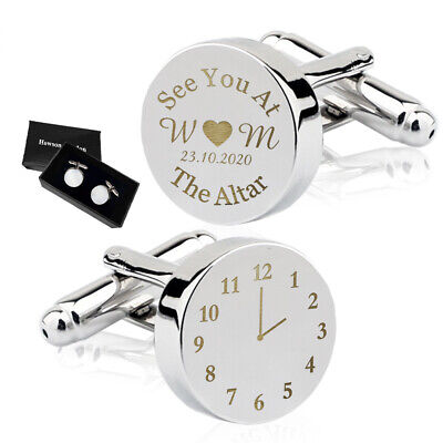 Personalised Engraved Cufflinks Silver Mens Groom Best Man Wedding Gift Altar