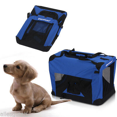 "Fabric Dog Pet Puppy Portable Carrier Crate Kennel Bag Cage Fold Travel blue ""M"""