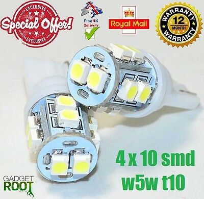 4 x 10 SMD LED 3528 T10 W5W PUSH WEDGE CAPLESS WHITE SIDE LIGHT BULBS 6000k