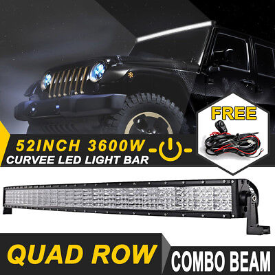 52INCH 3600W QUAD ROW PHILIPS CURVED LED Light Bar Offroad Truck Pickup 4WD 50""