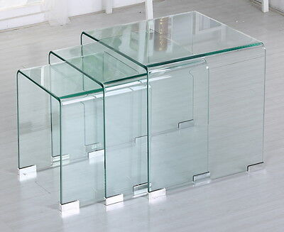 Unique modern design clear bent glass nest of three tablesass clear bent glass nest of three tablesass coffee tables watchthetrailerfo