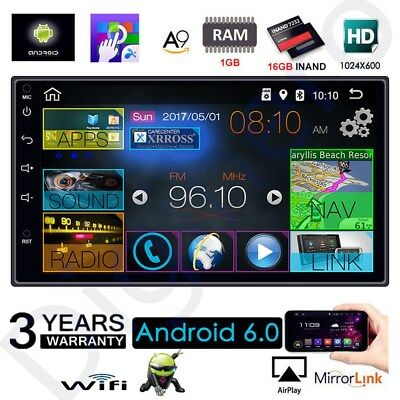 """Quad Core Android 6 3G WIFI MP5 7"""" Double 2DIN car Radio stereo player GPS Nav a"""