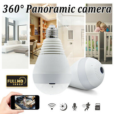 360° Panoramic HD 1080P Wireless Fisheye Security Hidden Camera LED Light Bulb