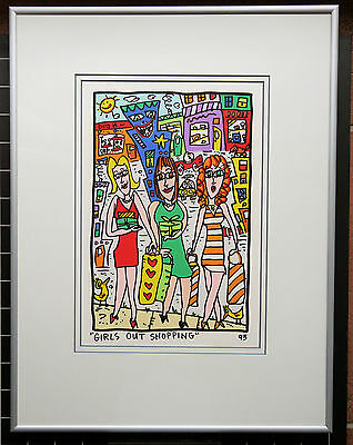 James Rizzi  Girls out shopping - Farblithografie gerahmtes Bild