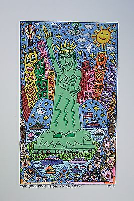 James Rizzi The big apple is on liberty - Farblithografie