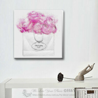Fashion Flower Stretched Canvas Print Framed Wall Art Hanging Home Office Decor