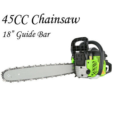 "NEW 45cc Petrol Chainsaw Commercial 18"" Bar Chain Saw E-Start Pruning Cutting AU"