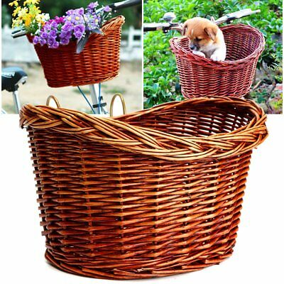 Wicker Bicycle Front Basket Bike Cycle Picnic Pets Shopping With Metal Plates