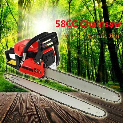 "58cc Petrol Commercial Chainsaw 18"" & 22"" Bar Chain Saw 2-stroke Tree Pruning"