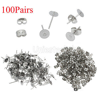 200pcs Earring Stud Posts 6mm Pad & Nut backs Hypoallergenic Surgical Steel