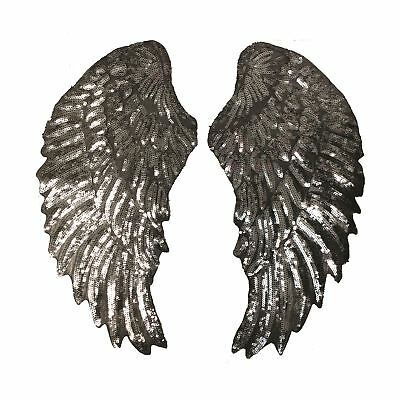 Super Sequin Silver Wings XXL (Iron On) Embroidery Applique Patch Sew Iron Badge
