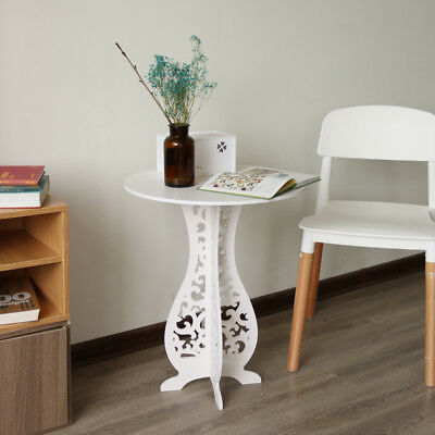 Modern Round Coffee Tea Table Sofa Side End Table Telephone Lamp Table White
