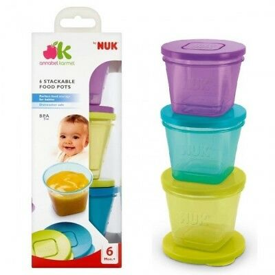 NUK Stackable Food Storage Pots (6 Pots) BPA-Free by Annabel Karmel