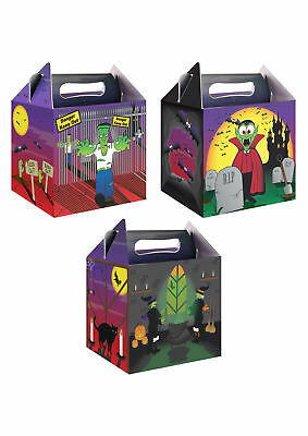 6 Halloween Party Boxes - Food Loot Lunch Cardboard Gift Childrens Kids Spooky
