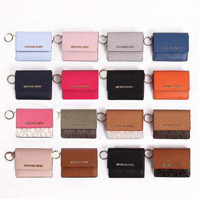 21c1d576f90a NWT Michael Kors Jet Set Travel Leather   PVC Card Case ID Key Ring Wallet