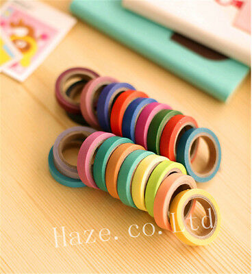 10 Rolls of Colorful Candy Masking Tape Mini Set Colour Box Washi Deco Sticky