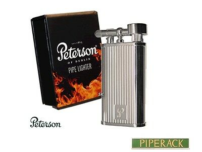 New Peterson Of Dublin Pipe Lighter Smoking Butane Gas Flint Chrome Stripe