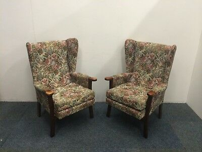 Set of Two Green Floral Wingback Fireside Armchairs