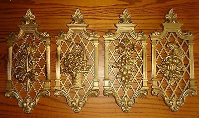 VTG Home Interiors Syroco Gold Floral  Fruit Wall Art Ornamental Hanging Plaques