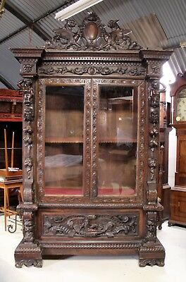A Fantastic And Superbly Carved Walnut Cabinet / Bookcase In The Baroque Taste