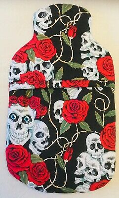 Skulls & Roses Hot Water Bottle Cover ~ Free Uk Postage