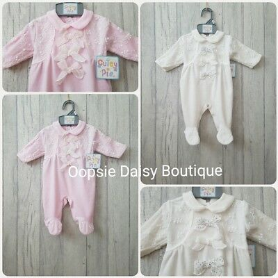 Baby Girls Gorgeous Bow and Lace Trim Velour Rompers ☆