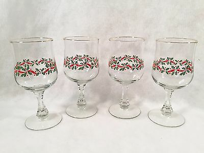 Set of 4 Christmas Holiday Holly w/Red Ribbon & Gold Trim Wine/Water Goblets