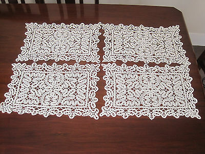 Set Of Four Antique Hand Worked  Bobbin Lace Placemats