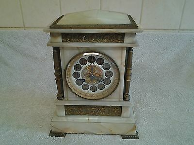 """Antique French Marble Mantel Clock """"convex Glass"""" (Needs Attention)"""