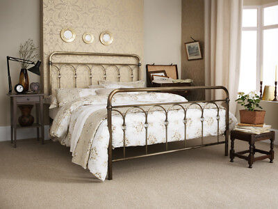 Shilton Metal Bed Frame Small Double 4' & King Size 5'- Antique Nickel and Brass