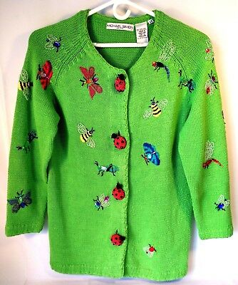 MICHAEL SIMON Womens Sweater Cardigan ONE SIZE 1990s Grunge Rare Beaded Insects