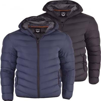 Mens Brave Soul Soft Padded Jacket Coat Faux Down Quilted Puffer Hooded Bubble