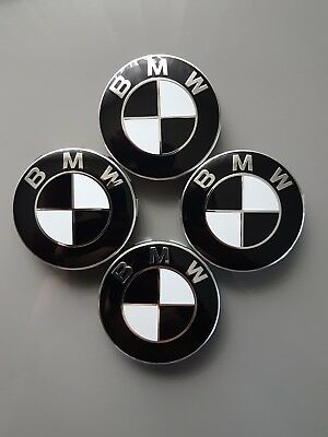4x 68mm bmw emblem schwarz weiss nabendeckel. Black Bedroom Furniture Sets. Home Design Ideas