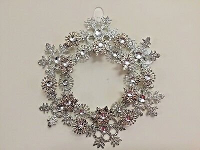 """B&BW Home decor.  Silver Drenched/Sparkling Glitter & Gems Wreath Ornament 11"""""""
