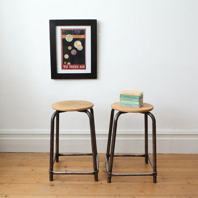 Vintage French industrial stool - two available