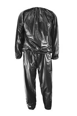 SS Heavy Duty Fitness Weight Loss Sweat Sauna Suit Exercise Gym Anti-Rip Black L