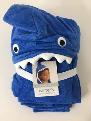Carter's Toddler Shark Hooded Towel Blue/white One Size Nwt $30