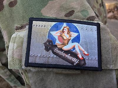 Bombs Away WWII Bomber Pin up Girl Nose Art Morale Patch Tactical ARMY