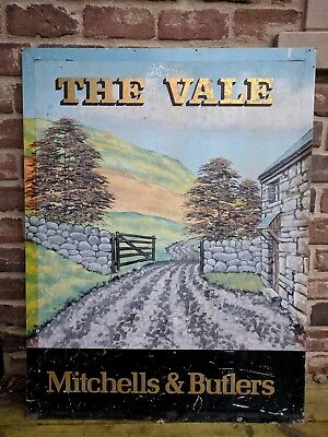 "Vintage English ""The Vale"" Pub Bar Sign w/ Stone Cottage, Fence and Gate"
