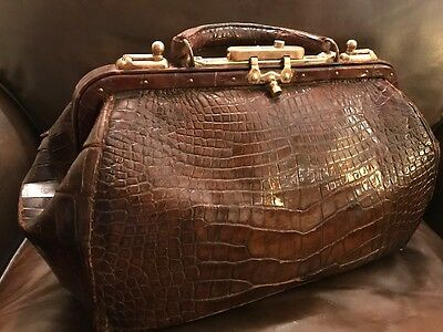 Antique Alligator & Brass Doctors Bag Beautiful