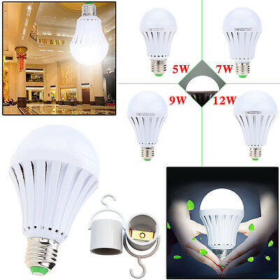 E27 E26 Rechargeable Intelligent Emergency LED Bulbs Energy Saving Lamp Light WQ