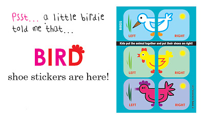 Shoezooz - Kids Educational Shoe Stickers to learn Left and Right - Birds
