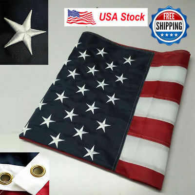 3'x5' ft American Flag Sewn Stripes Embroidered Stars Brass Grommets USA US